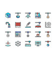 set 3d printing color line icons 3d modeling vector image