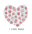Set of doodle insects in form of the heart
