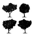 silhouette tree set and isolated black forest vector image vector image