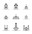 silhouettes of different churches vector image vector image