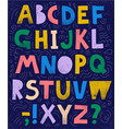 sketchy collage font abc colorful vector image