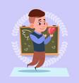 small school boy in love hold heart shape standing