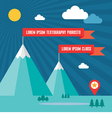 Snow Mountains with Red Flags in Flat Design Style vector image
