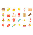 sweets and candy icon set 22 flat style vector image vector image