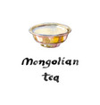 tea cup of silver bowl for mongolian salt vector image