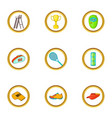 tennis tournament icons set cartoon style vector image vector image