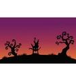 Tree monster halloween silhouette backgrounds vector image vector image