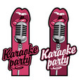 two stickers for karaoke party with mic and mouth vector image