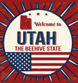 welcome to utah vintage grunge poster vector image