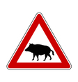 Wild pig warning sign vector image vector image