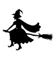 witch on broom silhouette vector image vector image