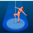 Young sexy woman exercise pole dance on a dark vector image vector image