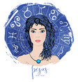 zodiac signs pisces in image of beauty girl vector image