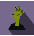 Zombie hand flat icon with shadow vector image