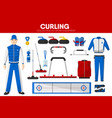 curling sport equipment game player garment vector image