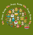 greeting card with easter icon and handwritten vector image