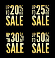20 to 50 percent off sale signs collection vector image vector image
