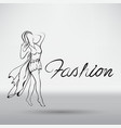 beautiful woman model walking on the runway vector image
