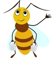 Bee cartoon smiling with two buckets vector image vector image