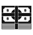 bundle banknote icon simple black style vector image