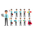 business man set eleven poses vector image vector image