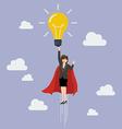 Business woman superhero holding creative vector image vector image