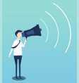 businessman advertises by megaphone flat design vector image