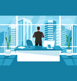 businessman looks out window vector image vector image