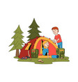 camp tent couple composition vector image