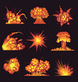 cartoon explosions fire bang with smoke effect vector image vector image