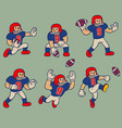 cartoon vintage character american football vector image vector image