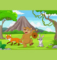 cartoon wild animals in forest vector image vector image