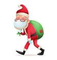 christmas protective medical mask santa claus gift vector image vector image