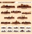city skyline set 10 silhouettes usa 7 vector image vector image