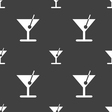 cocktail icon sign Seamless pattern on a gray vector image vector image