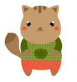 cute cat cartoon kawaii animal character vector image vector image
