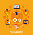 details for 3d printer on orange background vector image vector image