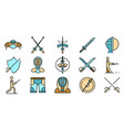 fencing icons set flat vector image vector image