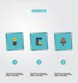 flat icons armchair espresso machine plant pot vector image vector image