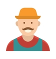 Funny farmer with mustache character in straw hat vector image
