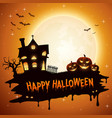 halloween background with pumpkins and church vector image