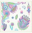 hand draw doodle flower element vector image