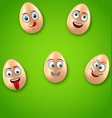 happy easter background with cheerful cartoon eggs vector image vector image