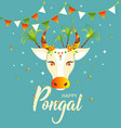 happy pongal decorated cow and rice greeting vector image