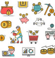 icons pattern blockchain concept bitcoin vector image