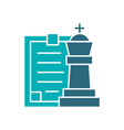 king chess with clipboard colored icon board game vector image vector image