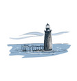 lighthouse sketch landscape line skyline vector image vector image