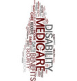 medicare disability text background word cloud vector image vector image