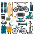modern sport leisure and hobby sport items vector image vector image