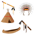 Native american set five icons vector image
